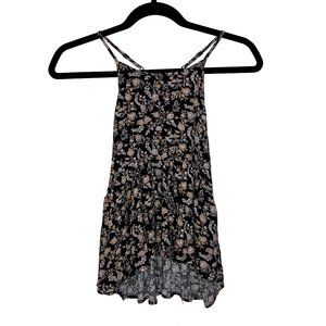 American Eagle Floral High-Low Racerback Tank S